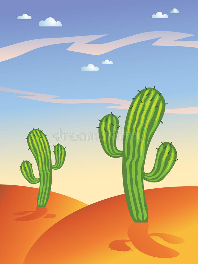 De cactus van de woestijn stock illustratie