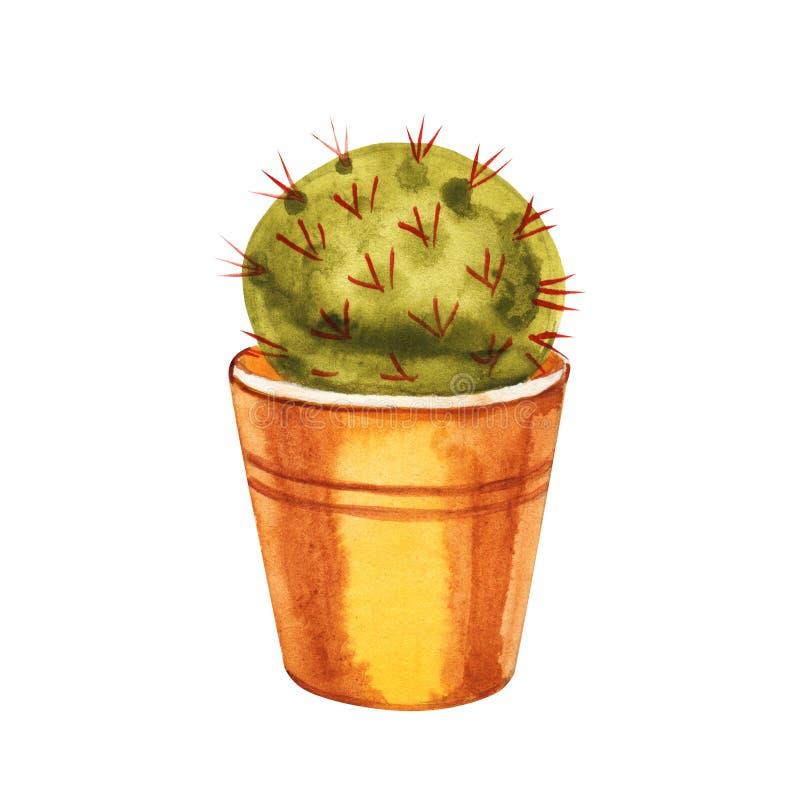 De cactus van de waterverfcactus in een pot Ge?soleerdj op witte achtergrond royalty-vrije illustratie