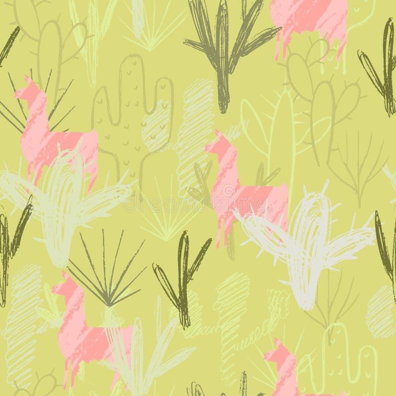 De cactusreeks van de potloodstijl en roze lamaachtergrond Element van naadloos patroon Vector illustratie royalty-vrije illustratie