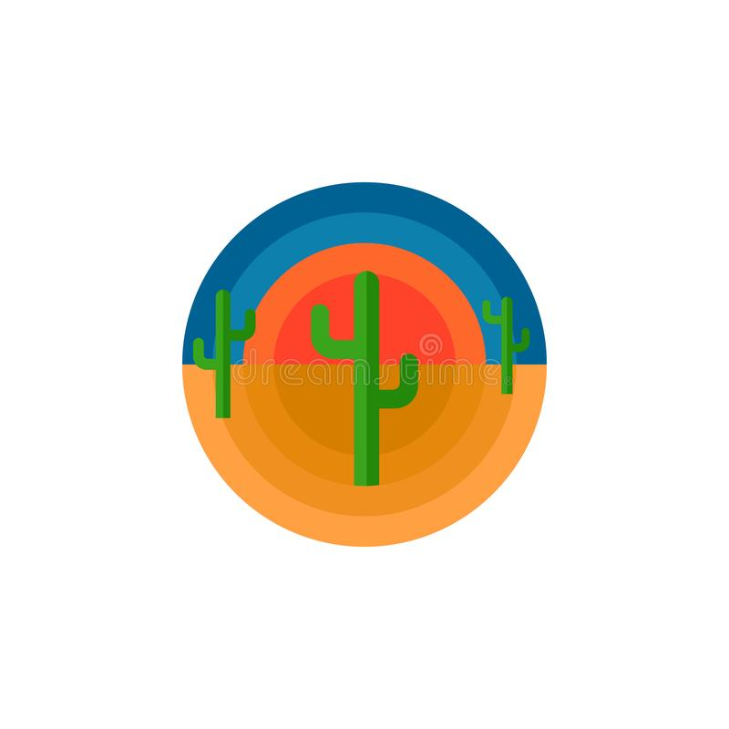 De de cactuswoestijn en zon om de druk of de sticker van de embleemt-shirt ontwerpen typografie vectorillustratie De staat of Mex royalty-vrije illustratie