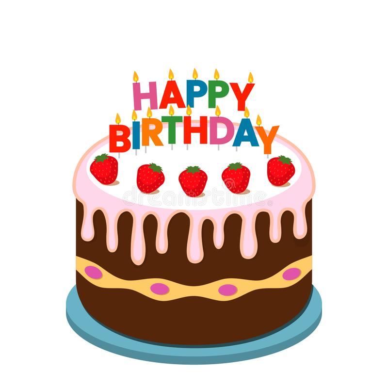 De cake van de aardbeichocolade met kaarsen - geïsoleerde de kaart vlakke vectorillustratie van de verjaardagsgroet stock illustratie
