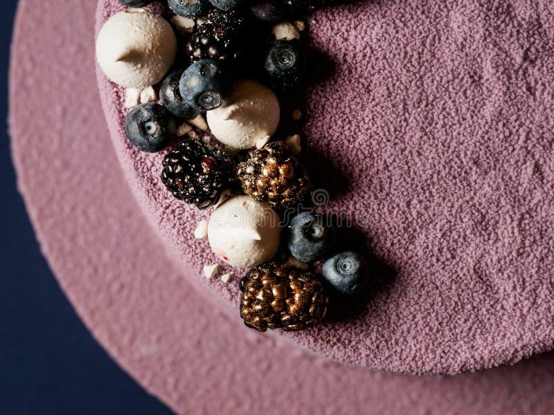 De cake van de bosbessenmousse royalty-vrije stock afbeeldingen