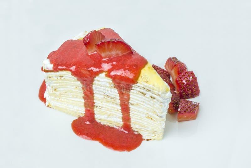 De cake van de aardbeirouwband royalty-vrije stock fotografie
