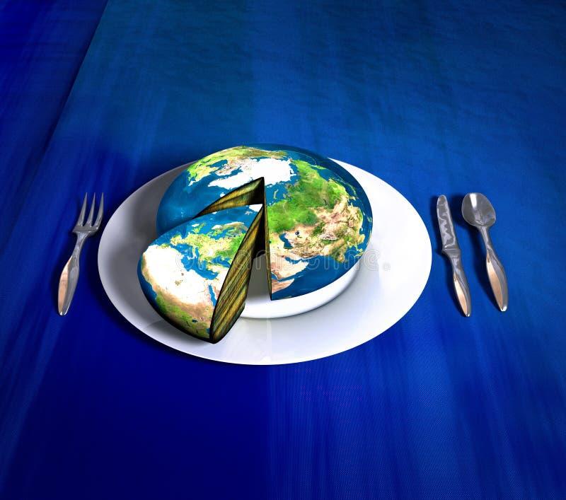De Cake Van De Aarde Europa Afrika Stock Illustratie