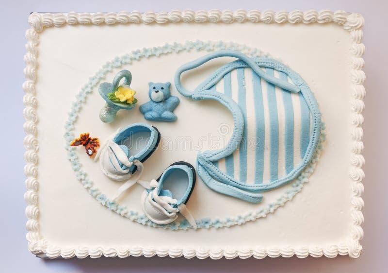 De cake van de babyverjaardag stock afbeeldingen