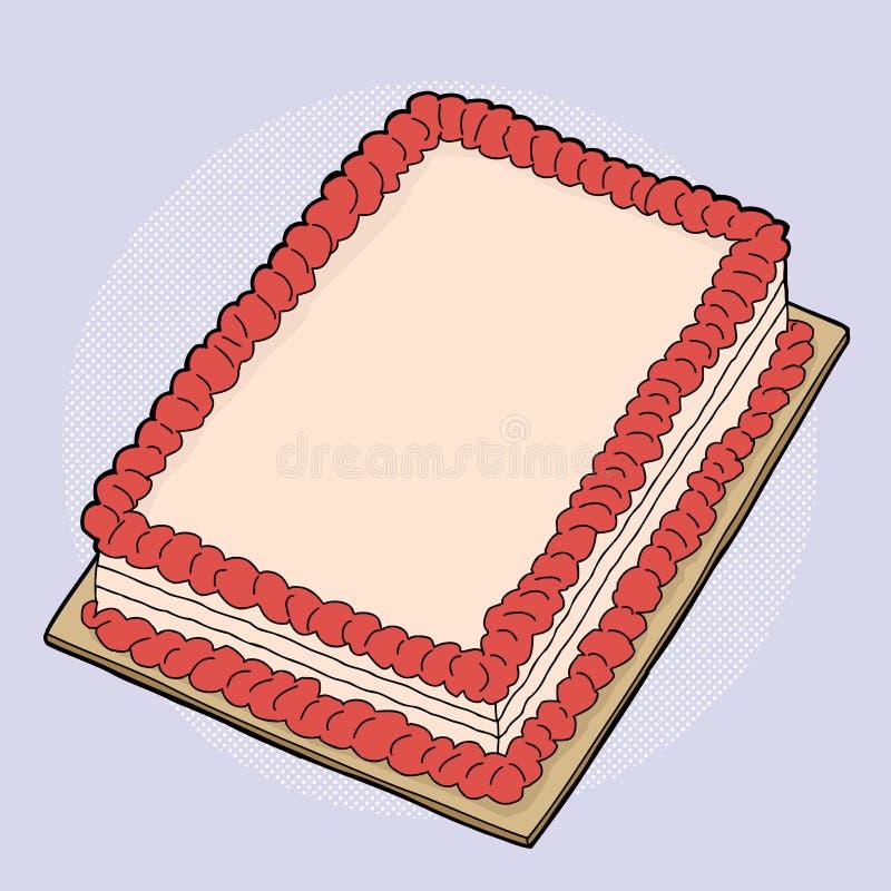 De Cake van de beeldverhaalaardbei stock illustratie