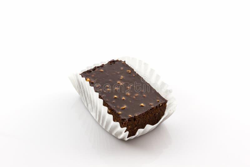 De cake van de brownie op witte achtergrond royalty-vrije stock foto's