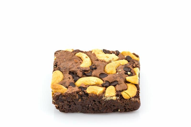 De cake van de brownie op witte achtergrond stock fotografie