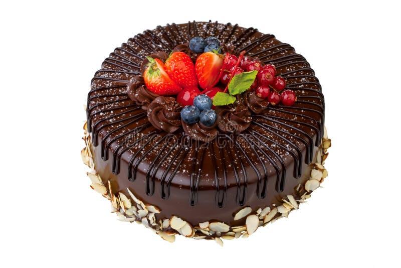De cake van de chocolade die op wit wordt geïsoleerde royalty-vrije stock foto