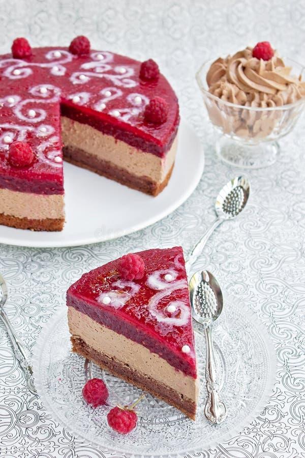 De cake van de chocolade met frambozengelei royalty-vrije stock foto
