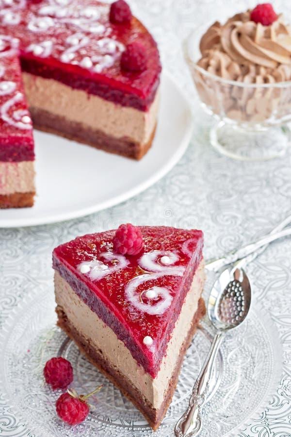 De cake van de chocolade met frambozengelei stock afbeelding