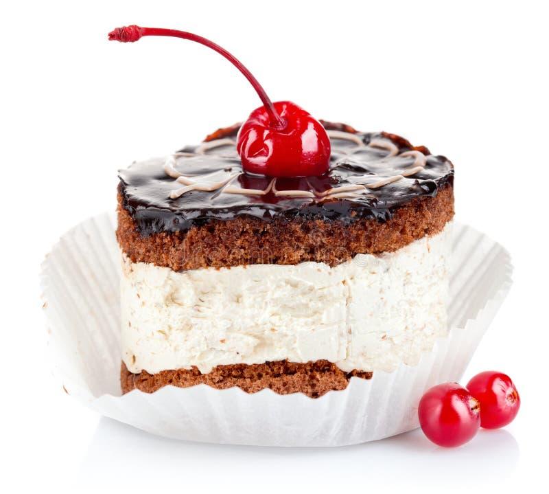 De cake van de chocolade met kers royalty-vrije stock afbeelding