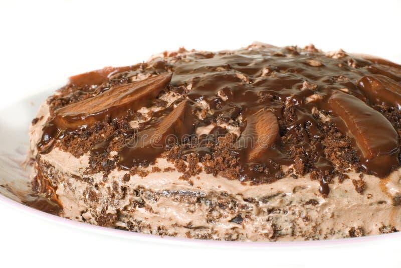 De cake van de chocolade met room royalty-vrije stock fotografie