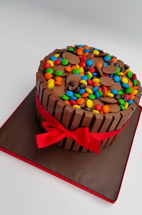 De cake van de chocoladeoverbelasting met wijsneuzen, M&M ` s en chocoladeknopen - uitrustings kat cake stock foto's