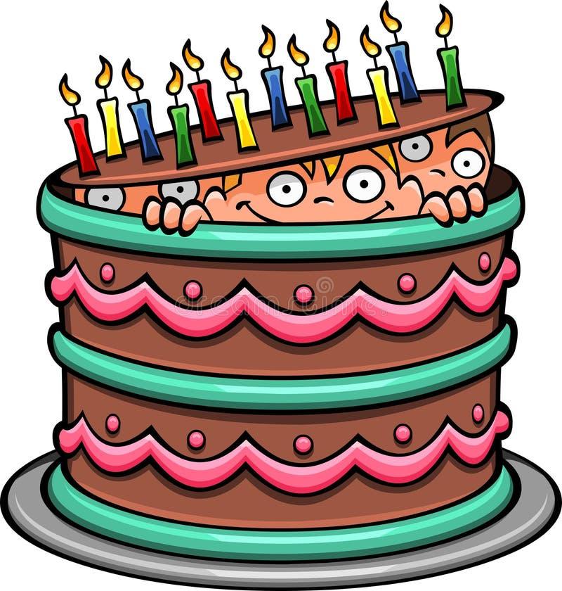 De Cake van de chocoladeverjaardag vector illustratie