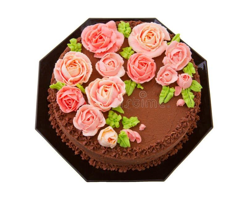De cake van de chocoladeverjaardag met boterroomrozen royalty-vrije stock afbeeldingen