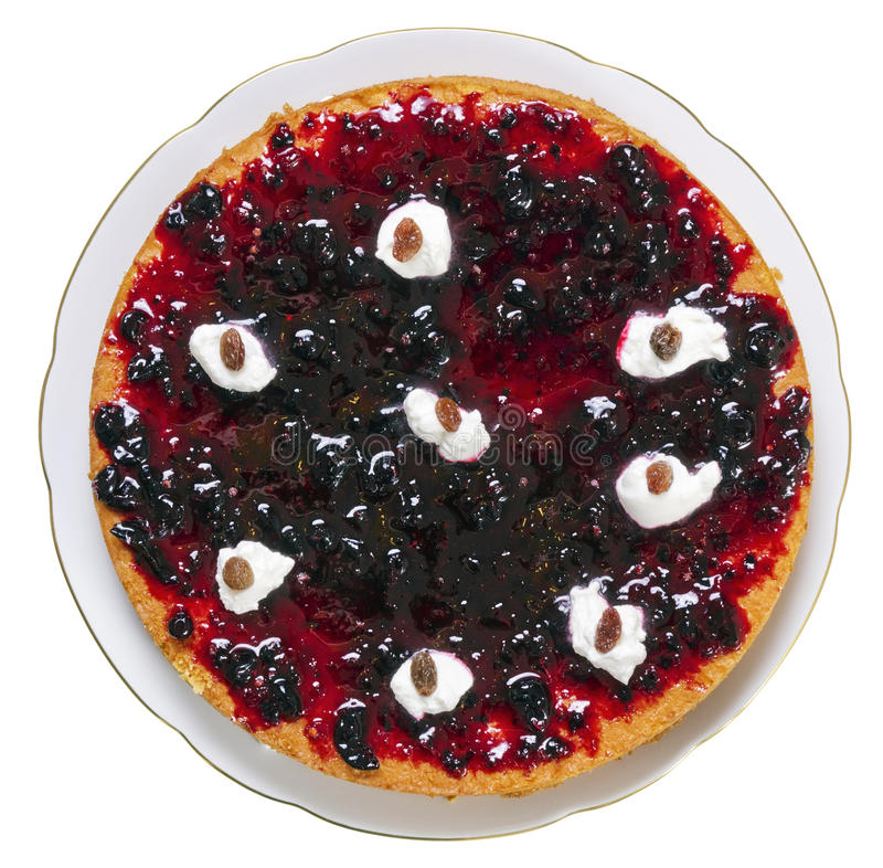 De cake van de honing met jam stock foto's