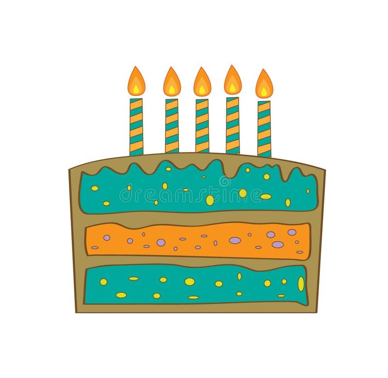 De cake van de jongensverjaardag, vectorillustratie royalty-vrije stock foto