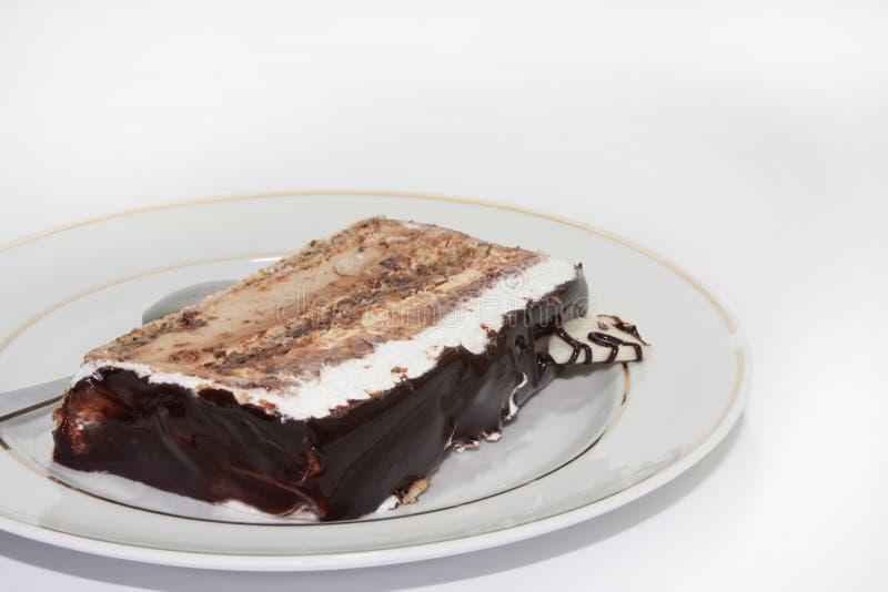 De cake van de stukchocolade stock foto's