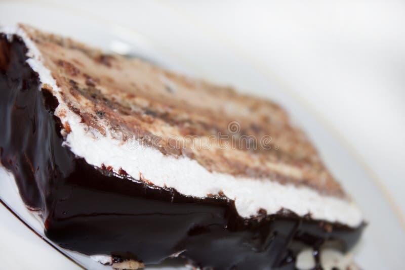 De cake van de stukchocolade stock afbeelding