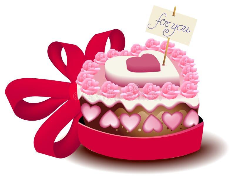 De cake van de valentijnskaart royalty-vrije illustratie