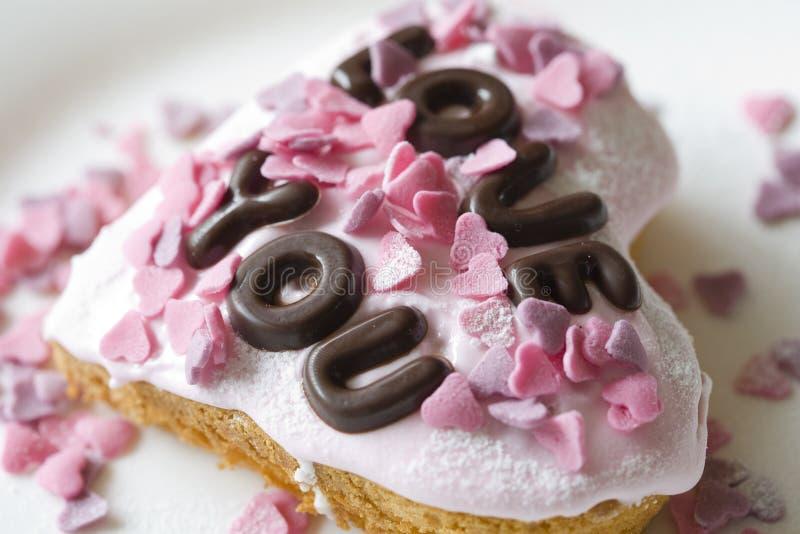 De cake van de valentijnskaart royalty-vrije stock afbeelding