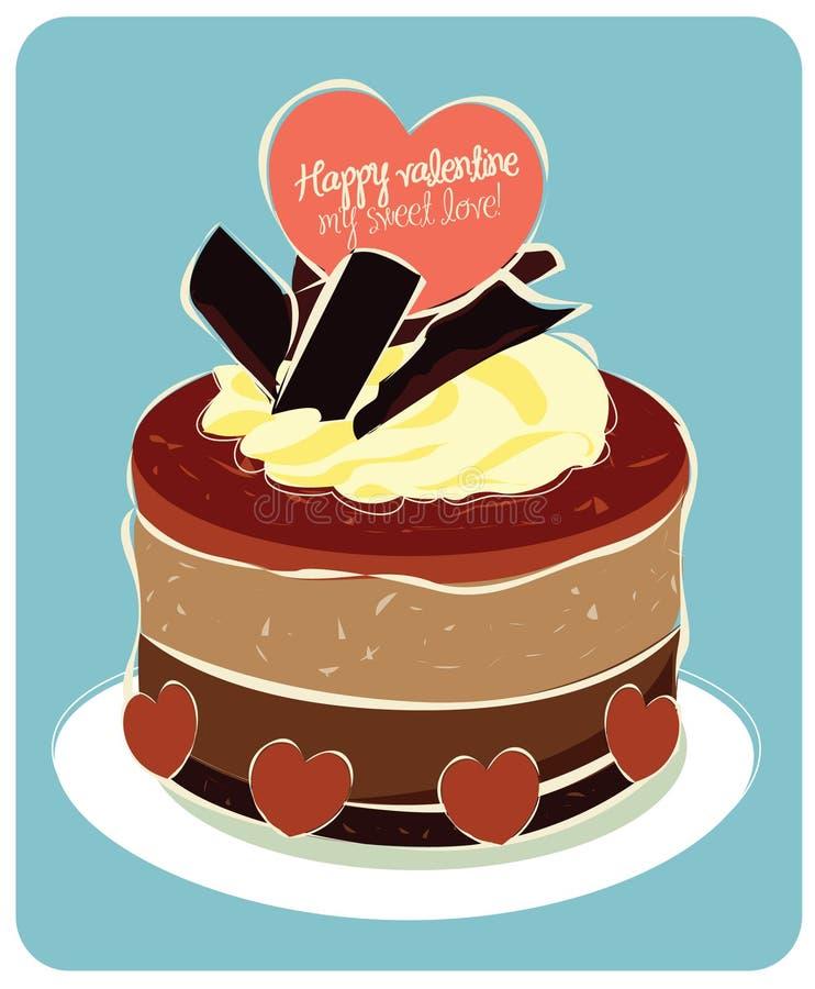 De cake van de Valentijnskaart van de chocolade royalty-vrije illustratie