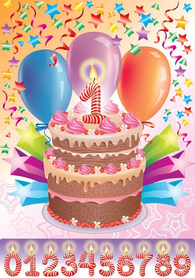 De cake van de verjaardag met de aantalleeftijd stock illustratie