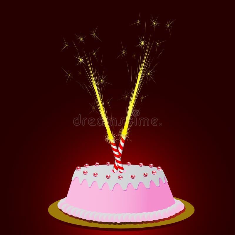 De cake van de verjaardag met gloed royalty-vrije illustratie