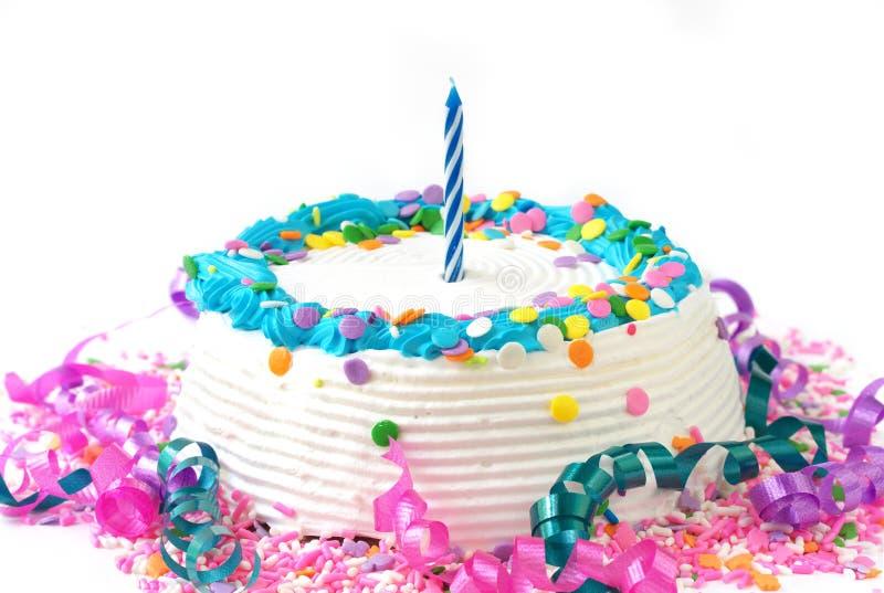 De cake van de verjaardag met kaars royalty-vrije stock afbeelding