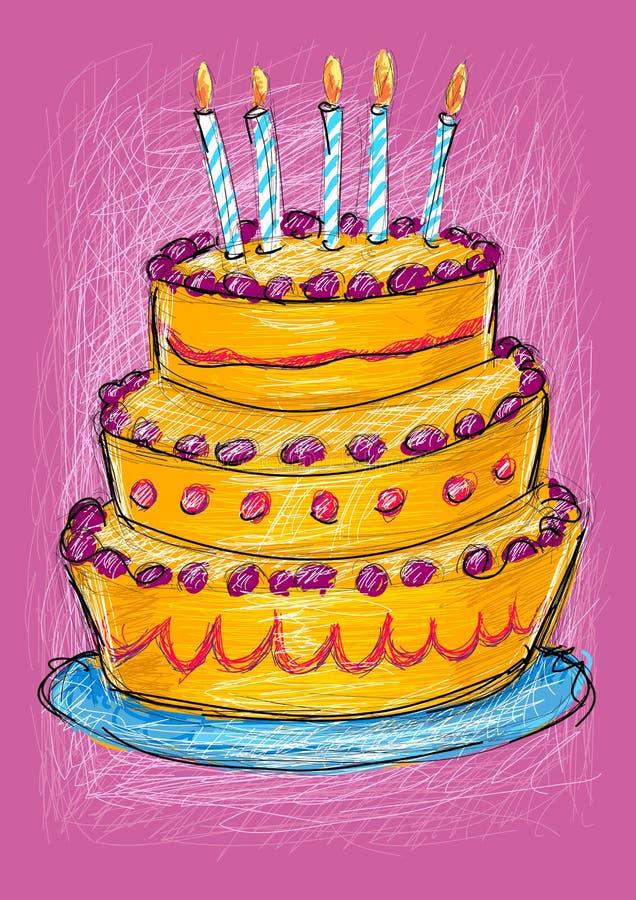 De cake van de verjaardag met kaarsen royalty-vrije illustratie