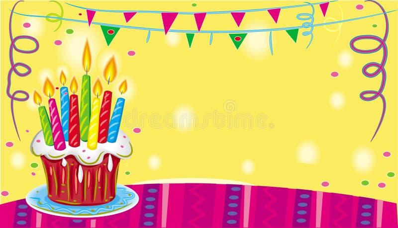 De cake van de verjaardag met kaarsen. royalty-vrije illustratie