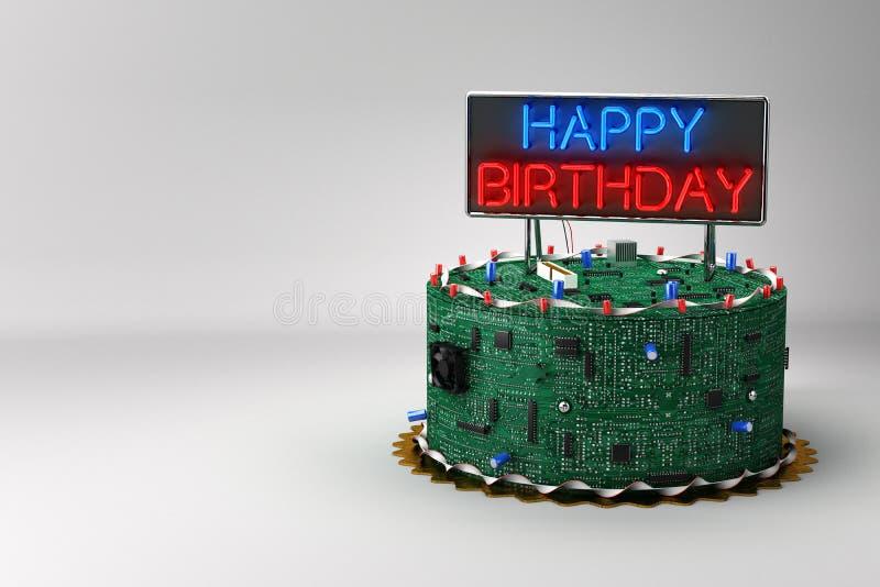 De Cake van de verjaardag voor Geeks vector illustratie