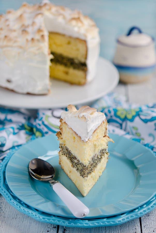 De cake van het citroenschuimgebakje royalty-vrije stock foto