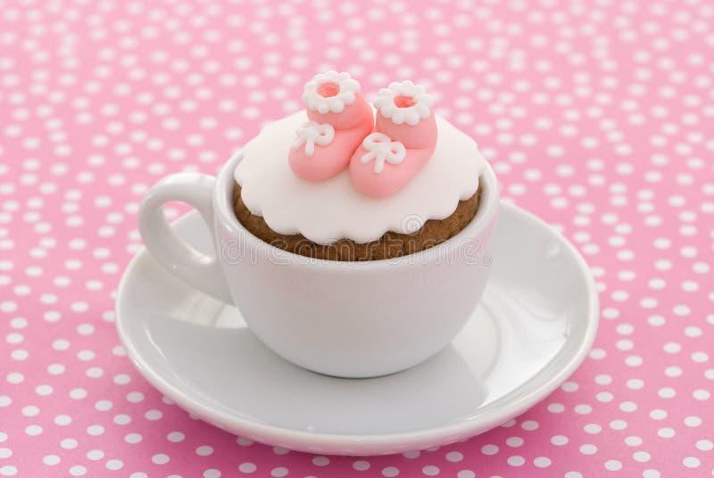 De Cake van het Doopsel van meisjes stock afbeelding