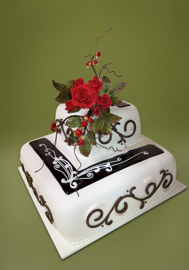 De Cake van het Huwelijk van rozen royalty-vrije stock afbeelding