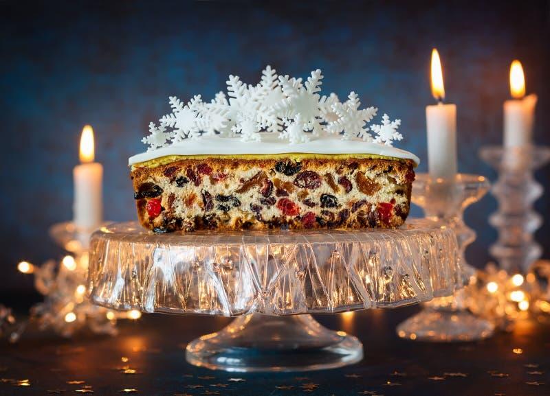 De cake van het Kerstmisfruit royalty-vrije stock afbeeldingen