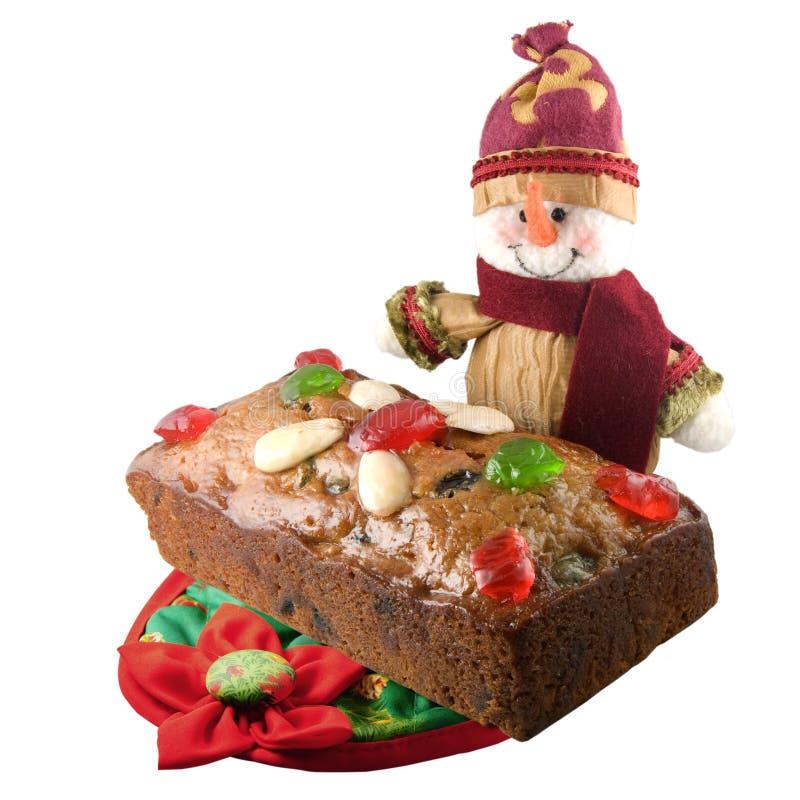 De cake van het Kerstmisfruit stock foto's