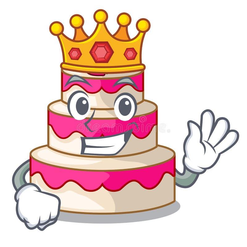 De cake van het koningshuwelijk die met de mascotte wordt geïsoleerd stock illustratie
