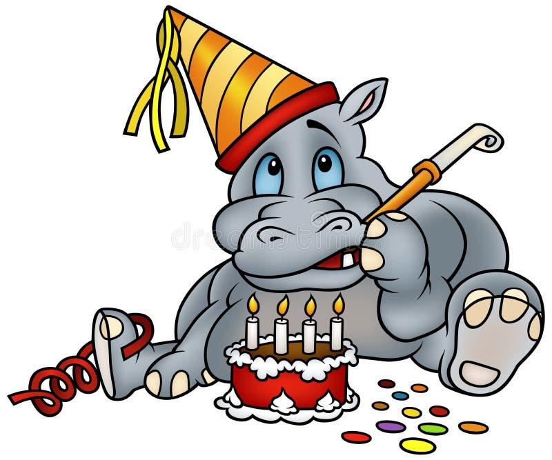 De Cake van Hippo en van de Verjaardag stock illustratie