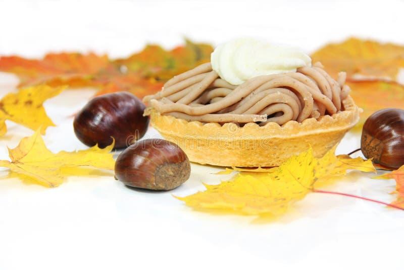 De Cake van kastanjevermicelles royalty-vrije stock foto