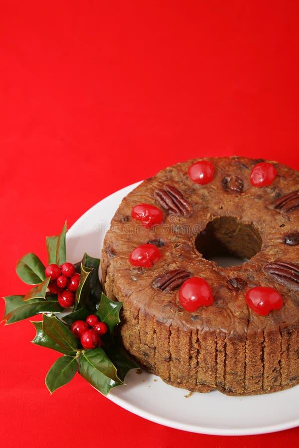 De Cake van Kerstmis op Rood stock foto