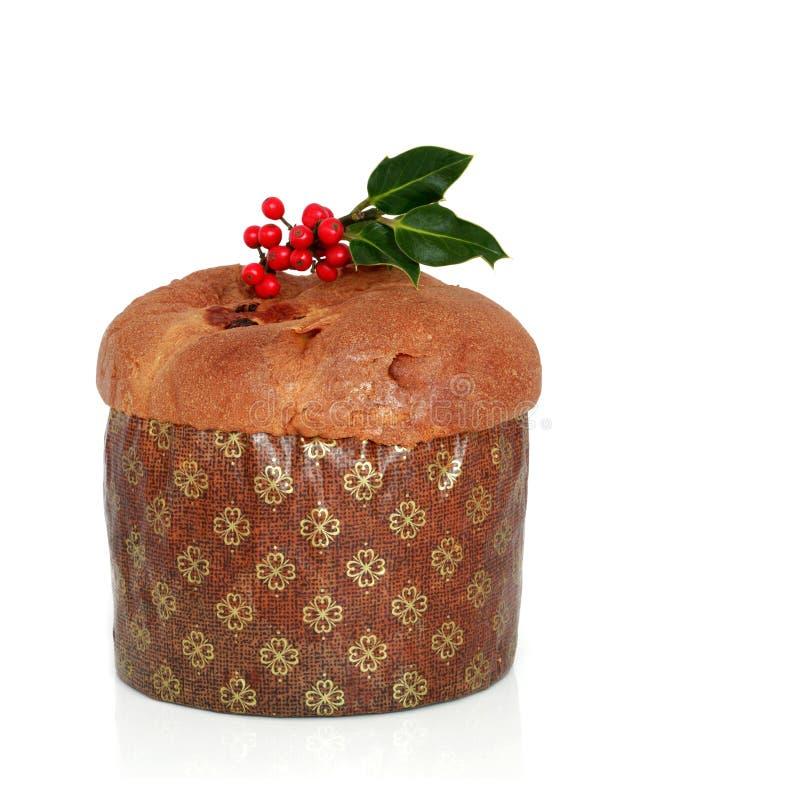 De Cake van Panetone van Kerstmis stock afbeeldingen