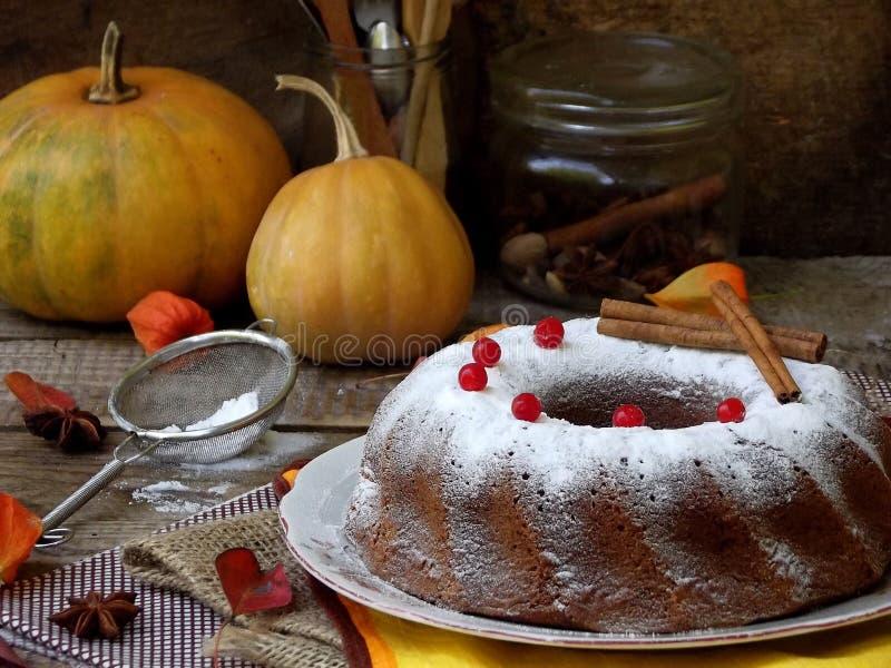 De cake van pompoenbundt met Amerikaanse veenbessen en kruiden met gepoederde suiker op houten achtergrond worden bestrooid die E stock afbeeldingen