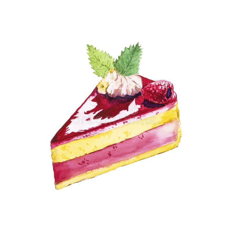 De cake van de waterverfframboos stock illustratie