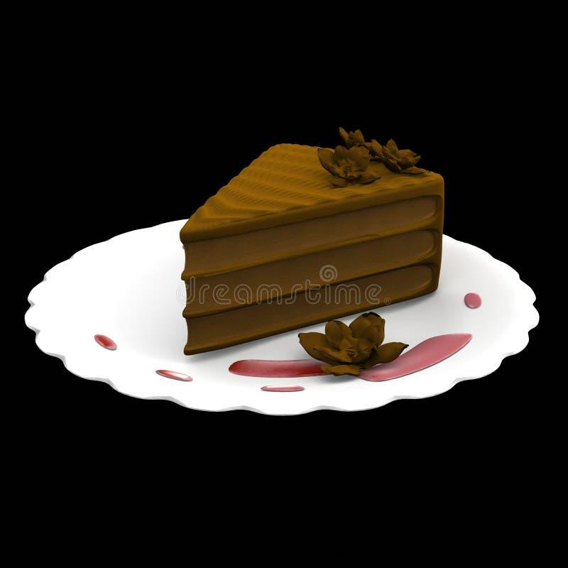 Download De Cakeplak Van De Chocolade - 3d Geproduceerde Computer Stock Illustratie - Illustratie bestaande uit stuk, gebak: 10776778