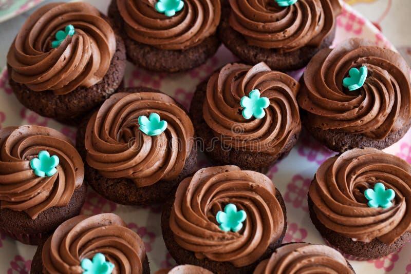 De cakes van de chocoladekop royalty-vrije stock afbeeldingen