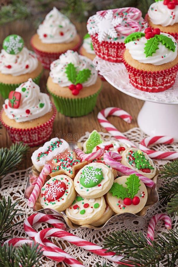 De cakes van de Kerstmiskop stock foto