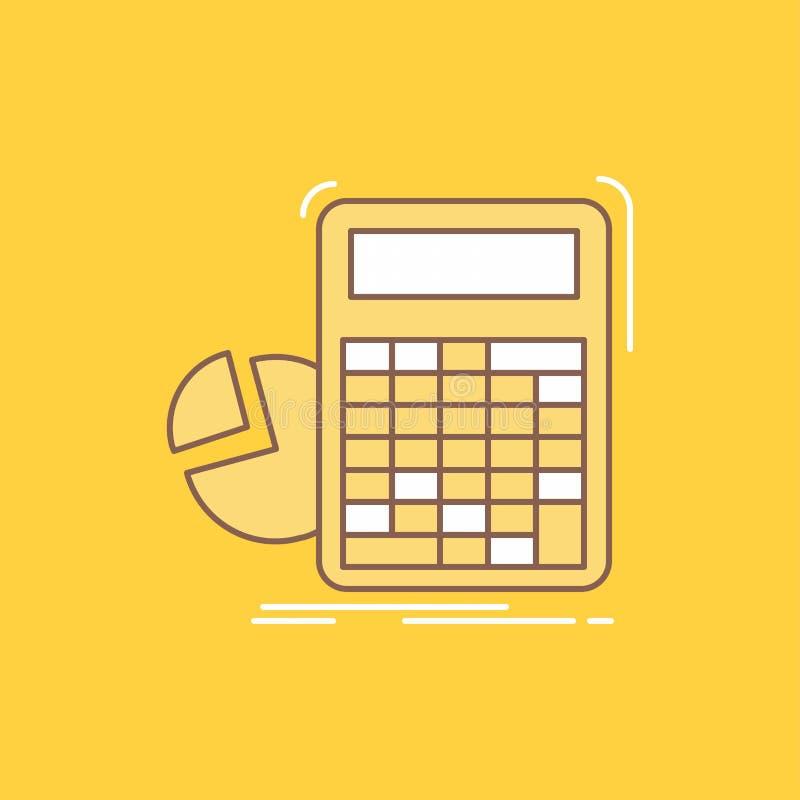 de calculator, berekening, wiskunde, vooruitgang, grafiek Vlakke Lijn vulde Pictogram Mooie Embleemknoop over gele achtergrond vo stock illustratie