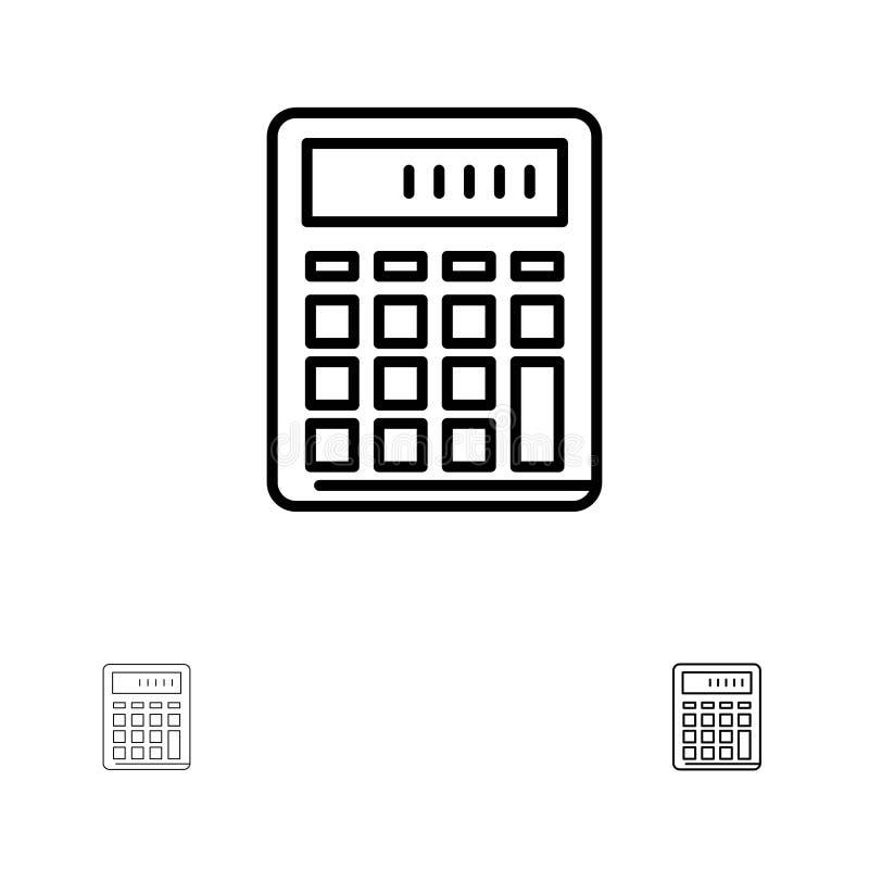 De calculator, Boekhouding, Zaken, berekent, Financiële, het pictogramreeks van de Wiskunde Gewaagde en dunne zwarte lijn royalty-vrije illustratie